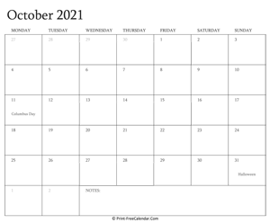 printable october calendar 2021 with holidays