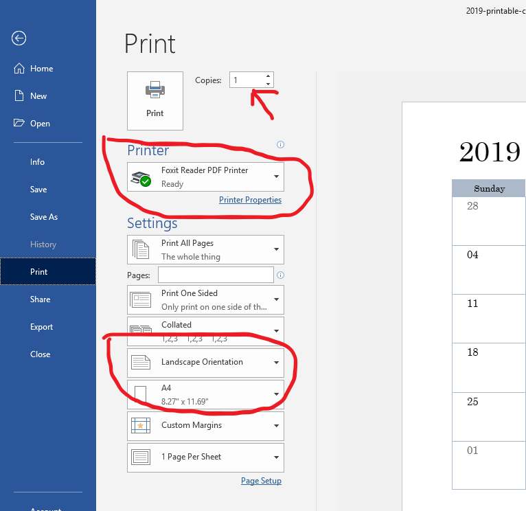 how to print a monthly calendar setup page